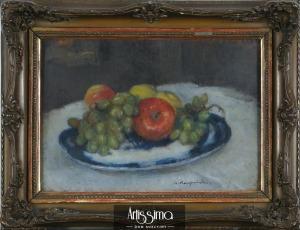 Karpiński Alfons, Martwa natura z owocami na fajansowym talerzu, l. 1930-te
