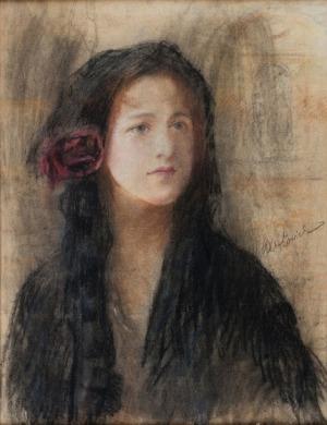 Teodor Axentowicz, Z różą we włosach1910