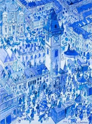 Edward Dwurnik, Praga - Ratusz, 2008