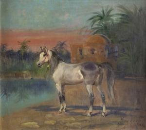 Jerzy Kossak (1886 – 1955), Siwy koń na tle oazy