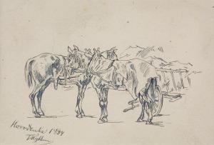 Tadeusz Rybkowski (1848-1926), Konie przy wozie, 1884