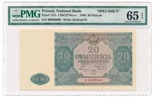 20 zloty 1946 Specimen B 0000000 PMG 65 EPQ Rare