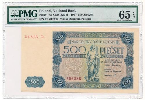 500 złotych 1947 - T2 - PMG 65 EPQ