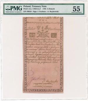 5 złotych 1794 N.D.1 - C.I.Honig - PMG 55
