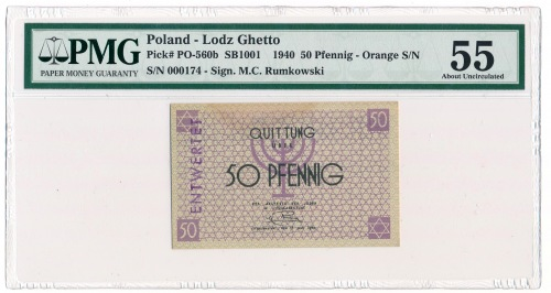 50 fenigów 1940 ENTWERTET pomarańczowy numerator - rzadkość
