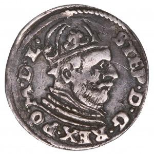 Stefan Batory, trojak 1585 Poznań - rzadka odmiana - PO.M.D.L
