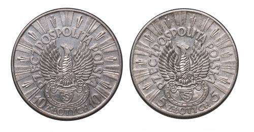 5 + 10 Złotych Piłsudski z orłem strzeleckim