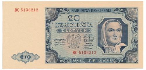 20 złotych 1948 - BC - pierwsza seria odmiany
