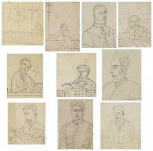 Nikifor KRYNICKI (1895-1968), Zestaw 10 rysunków przedstawiających postacie męskie