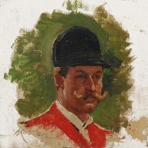 Wojciech KOSSAK (1856-1942), Studium portretowe uczestnika polowania par force, 1878