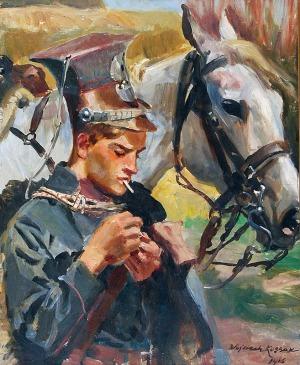 Wojciech KOSSAK (1856-1942), Odpoczynek ułana, 1916
