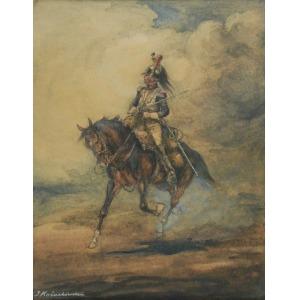 Jerzy KOŻUCHOWSKI (1893-1967), Kirasjer na koniu