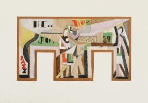 Tadeusz GRONOWSKI (1894-1990), Jazz - projekt malowidła ściennego, ok. 1960