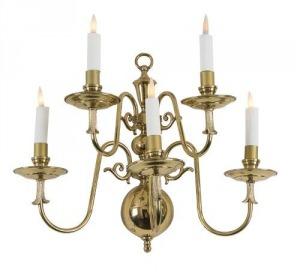 Cztery kinkiety (A set of four dutch-style brass five-branch wall-lights)