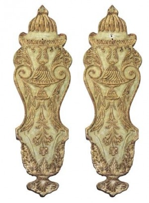Apliki (A pair of North Italian giltwood and green-painted wall backplates)