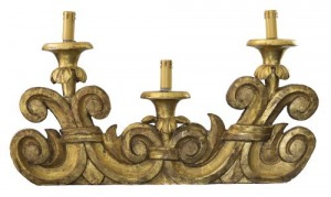 Kinkiety włoskie - 3 sztuki (A set of three Italian giltwood wall-lights)