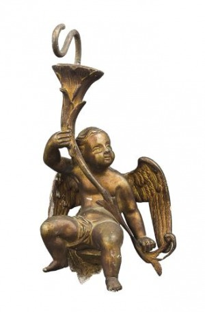 Putto - element lampy (An Italian hanging bronze putto)