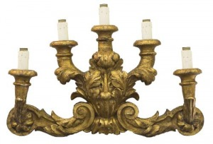 Kinkiet włoski (An Italian giltwood five-light wall light)