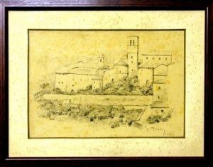 Asyż - 3 rysunki ołówkiem (A set of three signed pencil drawings of Assisi)