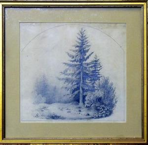 Studium pejzażu ze świerkiem (A pencil drawing signed AG - Artur Grottger)