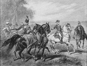 """Juliusz Kossak (1824-1899), """"Z rozkazu króla mam oddać tę zbroję i konia z rzędem"""", 1822"""