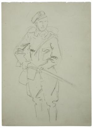 Wojciech Kossak (1856-1942), Żołnierz stojący z karabinem w rękach-szkic