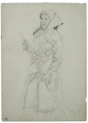 Wojciech Kossak (1856-1942), Dziewczyna wiejska z grabiami-szkic