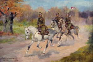 Jerzy Kossak (1886-1955), Ułani na koniach