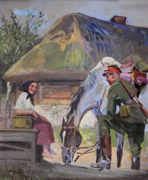 Wojciech Kossak (1856-1942), Ułan z dziewczyną przy studni