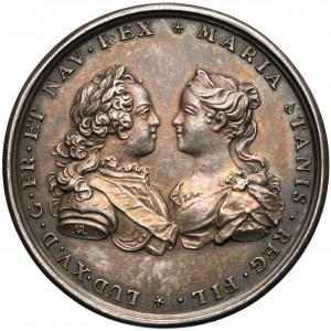 1725r. Medal zaślubinowy Ludwika XV i Marii Leszczyńskiej