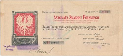 Asygnata Skarbu Polskiego 500 koron 1918 - bardzo rzadka