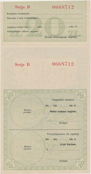 Asygnata Ministerstwa Skarbu (1939) - 20 złotych - z kuponem kontrolnym