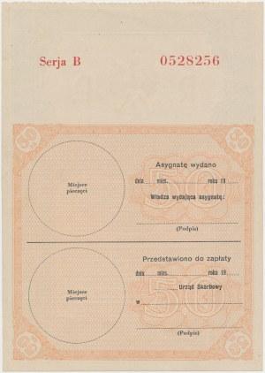 Asygnata Ministerstwa Skarbu (1939) - 50 złotych - blankiet