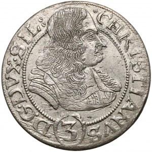 Chrystian wołowski, 3 krajcary Brzeg 1668 CB - LIGNICENS BREGENS