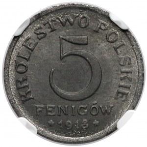 Królestwo Polskie, 5 fenigów 1918 - NGC MS64
