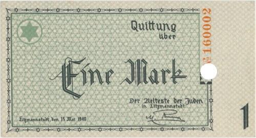 Getto 1 marka 1940 - perforacja jednokrotna