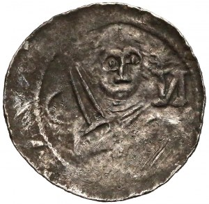 Władysław II Wygnaniec, Denar Książę i Biskup - półksiężyc i N
