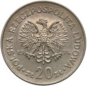Próba MIEDZIONIKIEL 20 złotych 1974 Marceli Nowotko - nakład 20 szt.