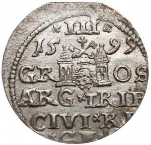 Zygmunt III Waza, Trojak Ryga 1599 - lilia z prawej