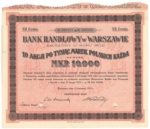 Bank Handlowy w Warszawie, Em.12, 10x 1.000 mkp 1923