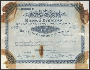 Bank Ziemian Spółka Akcyjna we Lwowie, 280 mk 1920