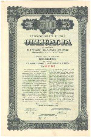 7% Pożyczka Kolejowa 1930, Obligacja na 500 złotych