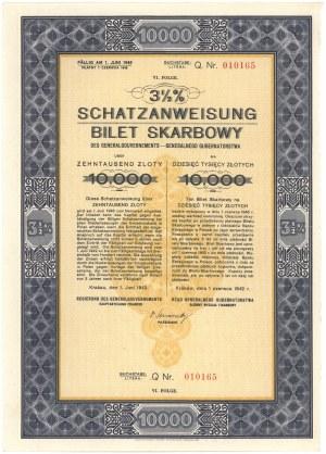 3.5% Bilet Skarbowy, Em.6 litera Q - 10.000 złotych 1942