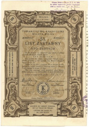 Tow. Kredytowe Miasta Wilna, List zastawny 5% - 100 złotych 1938