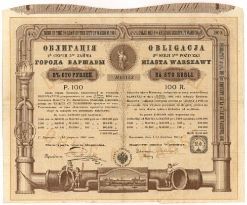 Obligacja 5-tej Pożyczki M.St. Warszawy 1901 - na wodociągi - 100 rubli