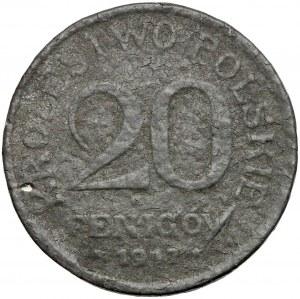 Królestwo Polskie, FAŁSZERSTWO z epoki w CYNKU 20 fenigów 1917