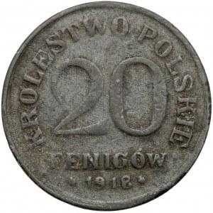 Królestwo Polskie, FAŁSZERSTWO z epoki w CYNKU 20 fenigów 1918