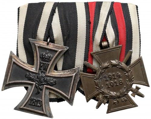Niemcy, szpanga za I Wojnę Światową - krzyż żelazny II Kl. i Krzyż zasługi wojennej z mieczami