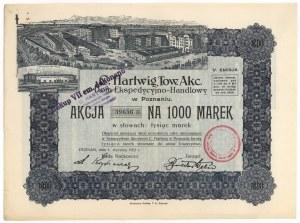 C. HARTWIG Tow. Akc. Dom Ekspedycyjno-Handlowy, Em.5, 1.000 mk 1922