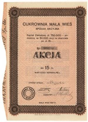 Cukrownia MAŁA WIEŚ, 15 zł 1927